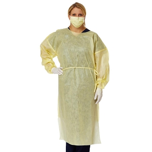 Nonwoven 10 Fluid-Resistant Yellow Disposable Isolation Gowns SMS Material